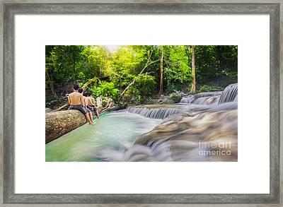 Erawan Waterfall Framed Print