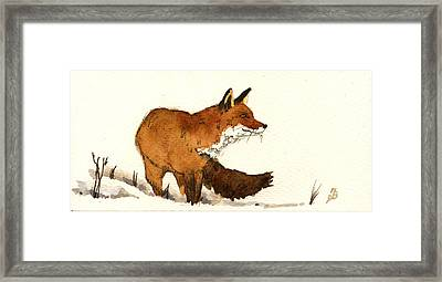 Red Fox Framed Print by Juan  Bosco