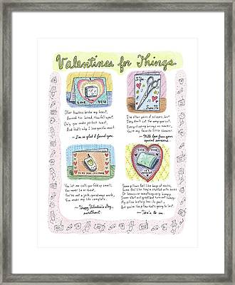 Valentines For Things Framed Print