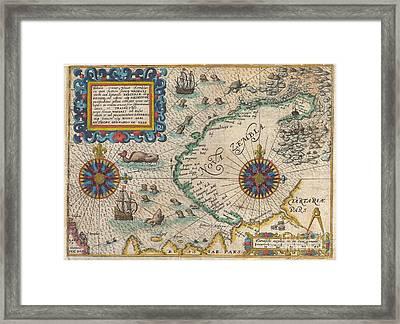 1601 De Bry And De Veer Map Of Nova Zembla And The Northeast Passage Framed Print