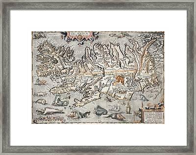 1603 Ortelius Iceland Monster Map Framed Print by Paul D Stewart