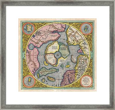 1606 Mercator Hondius Map Of The Arctic Framed Print by Paul Fearn