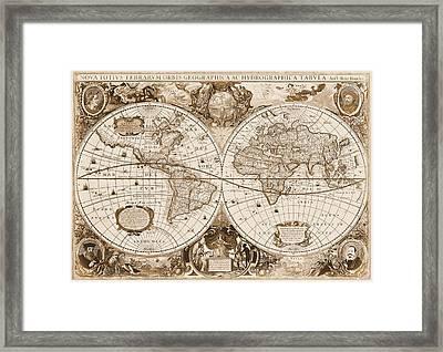 1630 Antique World Map Framed Print