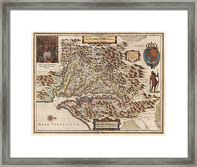 1630 Hondius Map Of Virginia And The Chesapeake Framed Print by Paul Fearn