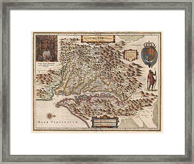 1630 Virginia Map Framed Print by Dan Sproul