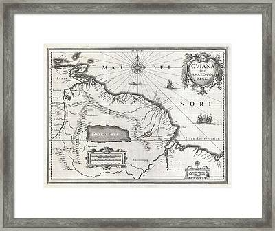 1635 Blaeu Map Guiana Venezuela And El Dorado Framed Print by Paul Fearn