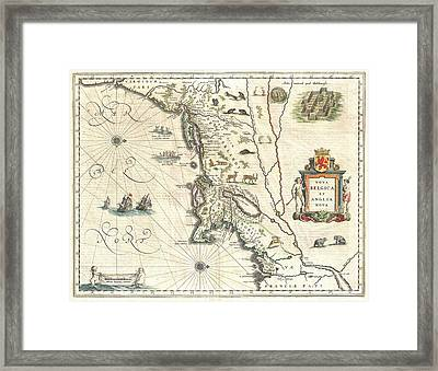 1635 Blaeu Map Of New England And New York Framed Print by Paul Fearn