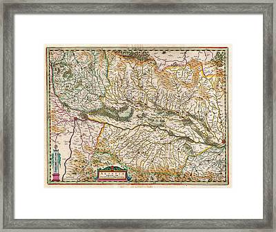 1644 Jansson Map Of Alsace Basel And Strasbourg Geographicus Alsatiasuperior Jansson 1644 Framed Print by MotionAge Designs
