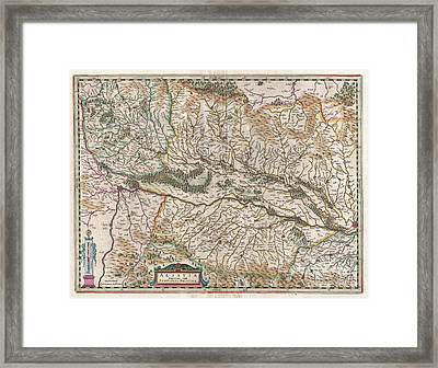 1644 Jansson Map Of Alsace  Framed Print by Paul Fearn