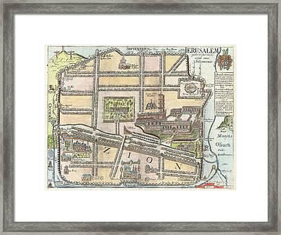 1650 Fuller Map Of Jerusalem  Framed Print by Paul Fearn