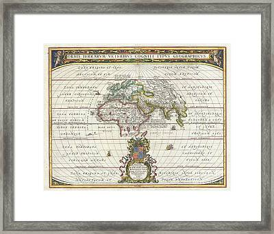 1650 Jansson Map Of The Ancient World Framed Print by Paul Fearn