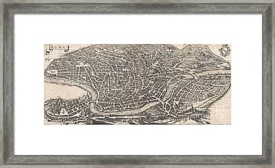 1652 Merian Panoramic View Or Map Of Rome Italy Framed Print