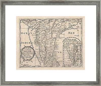 1652 Sanson Map Of India Framed Print by Paul Fearn