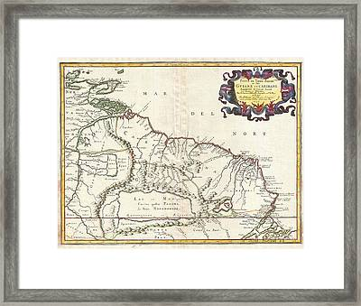 1656 Sanson Map Of Guiana Venezuela And El Dorado Framed Print by Paul Fearn