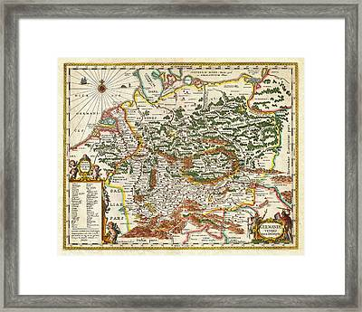 1657 Jansson Map Of Germany Germania Geographicus Germaniae Jansson 1657 Framed Print by MotionAge Designs