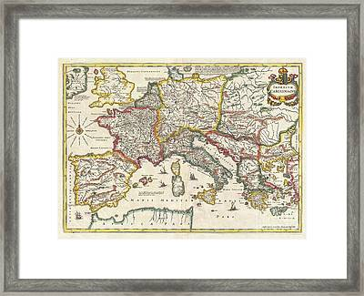1657 Jansson Map Of The Empire Of Charlemagne Framed Print by Paul Fearn
