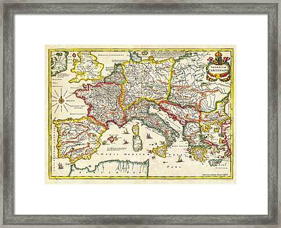 1657 Jansson Map Of The Empire Ofcharlemagne Geographicus Carolimagni Jansson 1657 Framed Print by MotionAge Designs