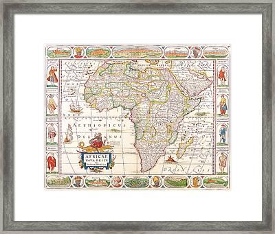1658 Antique Africa Map Framed Print