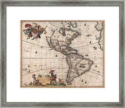 1658 Visscher Map Of North America And South America Framed Print by Paul Fearn