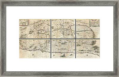 1662 Jansson And Hornius Map Of The Holy Land Israel And Palestine Framed Print by Paul Fearn