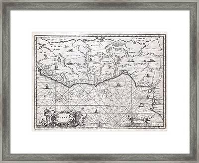 1670 Ogilby Map Of West Africa  Gold Coast Slave Coast Ivory Coast Framed Print by Paul Fearn