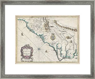 1676 John Speed Map Of Carolina Framed Print by Paul Fearn