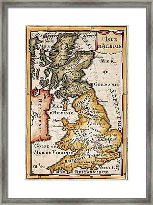 1683 Mallet Map Roman Britain Tribes Framed Print