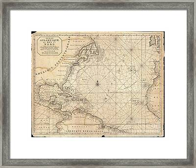 1683 Mortier Map Of North America The West Indies And The Atlantic Ocean  Framed Print