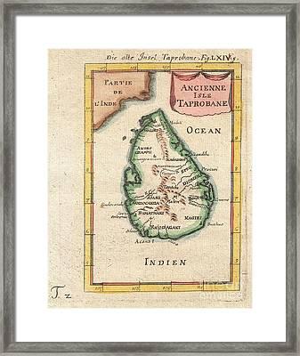 1686 Mallet Map Of Ceylon Or Sri Lanka Framed Print