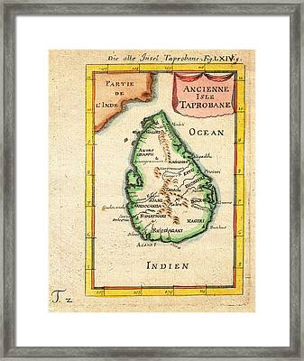 1686 Mallet Map Of Ceylon Or Sri Lanka Taprobane Geographicus Taprobane Mallet 1686 Framed Print by MotionAge Designs