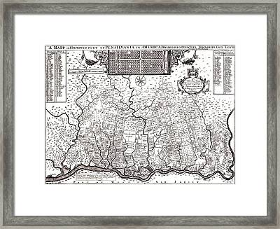 1687 Pennsylvania Map Framed Print by Bill Cannon