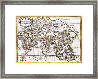 1687 Sanson  Rossi Map Of Asia Framed Print by Paul Fearn