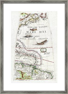 1688 Coronelli Globe Gore Map Of Ne North America The West Indies And Ne South America Framed Print by Paul Fearn