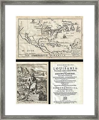 1688 Hennepin First Book And Map Of North America Framed Print by Paul Fearn