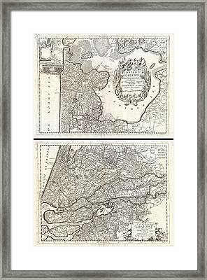 1690 Coronelli Map Of Holland Or The Netherlands  Framed Print