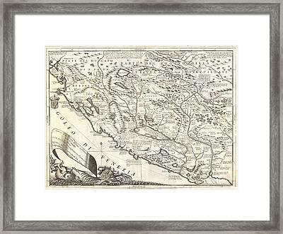 1690 Coronelli Map Of Montenegro Framed Print