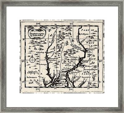 1690 Pennsylvania Map Framed Print by Bill Cannon