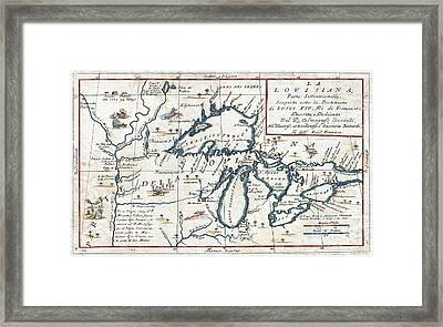 1696 Coronelli Map Of The Great Lakes Framed Print by Paul Fearn