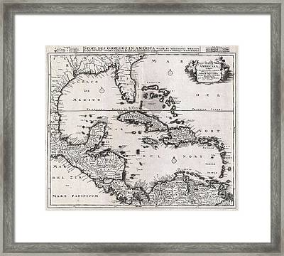 1696 Danckerts Map Of Florida The West Indies And The Caribbean Framed Print by Paul Fearn