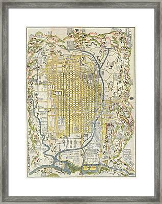 1696 Genroku 9 Early Edo  Japanese Map Of Kyoto Japan Geographicus Kyoto Genroku9 1696 Framed Print by MotionAge Designs