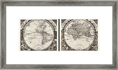 1696 Zahn Map Of The World In Two Hemispheres Geographicus World Zahn 1696 Framed Print by MotionAge Designs