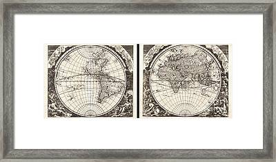1696 Zahn Map Of The World In Two Hemispheres Framed Print by Paul Fearn
