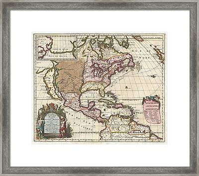 1698 Louis Hennepin Map Of North America Geographicus Northamerica Hennepin 1698 Framed Print by MotionAge Designs