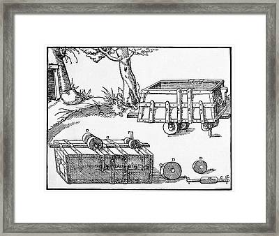 16th Century Mine Cart Framed Print by Cci Archives