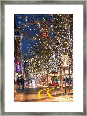 16th Street Mall In Denver Holiday Time Framed Print by Juli Scalzi