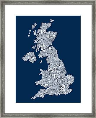 Great Britain Uk City Text Map Framed Print