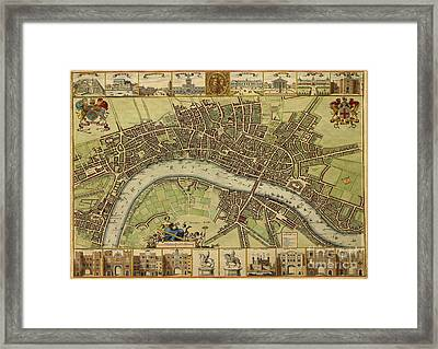 17 Th Century Map Of London England Framed Print by Melissa Messick