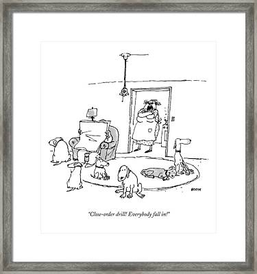 Close-order Drill! Everybody Fall In! Framed Print