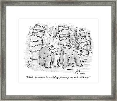 I Think That Once We Invented Finger Food Framed Print by Leo Cullum
