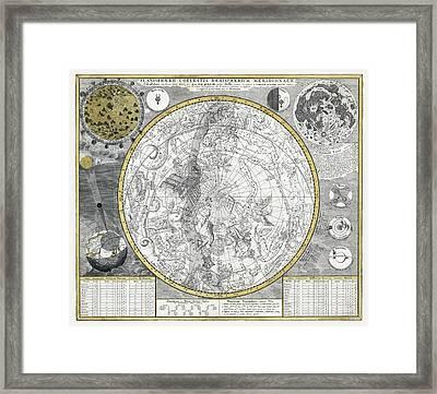 1700 Celestial Planisphere Framed Print by Daniel Hagerman